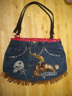 Womens Upcycled Blue Jean Purse for the by GrandmaGooseCreation