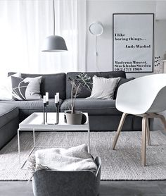 Love this beautiful grey and white living room ♡