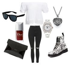 """going out with the girls."" by wcyera on Polyvore featuring Boohoo, Dr. Martens, Topshop, Rolex and Givenchy"
