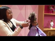 American Girl Doll Gabriela Gets Her Hair Styled at American Girl Place Cosas American Girl, American Girl Diy, Holiday Hairstyles, Braided Hairstyles, Cool Hairstyles, Barbie Hair, Doll Hair, American Girl Place, Hair Without Heat