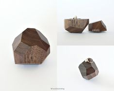 Faceted wood ring box with black pillow by Woodstorming on Etsy