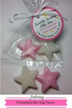Personalized Twinkle Little Star Soap Party Favors | Amy's Bubbling Boutique.  Favors are completely custom made for your special day.  Pick your choice of colors & fragrance.  Each tag is personalized with your choice of wording and colors.  Favors arrive completely assembled and ready to give your guests to take home to remember your day.
