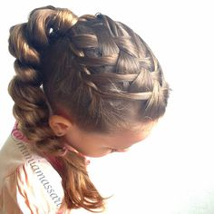 Waterfall braid into a pull through ponytail