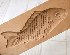 Japanese Antique Kashigata Koi Carp with Cover Hand Carved Wooden Cake Mold | eBay