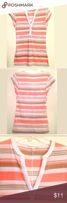 Victoria's Secret Top or Henley Shirt small Victoria's?Secret Top or Henley Shirt (C2)  Women's Size Small (s/p)  Flattering Peach Brown White Stripes  Comfortable Cotton/Poly Blend  See Photos of Measurements  SMOKE FREE HOME Victoria's Secret Tops