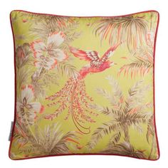 A bird with fabulous plumage swoops between palm fronds on this printed cushion. Exotic birds have become a signature for Matthew Williamson. This striking cushion will be a highlight to any room and complements the matching Bird of Paradise wallpaper. Pink Throw Pillows, Scatter Cushions, Toss Pillows, Decorative Throw Pillows, Accent Pillows, Tropical Home Decor, Pink Home Decor, Paradise Wallpaper, Osborne And Little