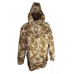 Brand new British Windproof SAS Parka. This material feels virtually indestructible. 4 large front pockets, 2 gun pockets, wire framed hood, zip and velcro front, velcro cuffs and drawstring at the bottom.