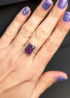 Rare Elegant Rectangle Purple Sugilite in Sterling Silver by GildedBug on Etsy
