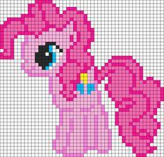 Mon petit poney -- Pinkie Pie My Little Pony Perler Bead Pattern / Bead Sprite Pearler Bead Patterns, Kandi Patterns, Perler Patterns, Beading Patterns, Beaded Cross Stitch, Cross Stitch Patterns, Modele Pixel Art, Pixel Crochet, Pixel Pattern