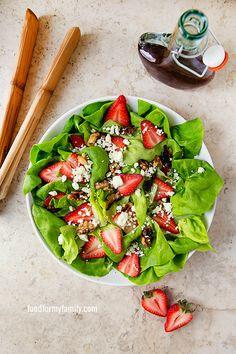 Strawberry Feta Salad with Butter Lettuce via Shaina Olmanson at FoodforMyFamily.com
