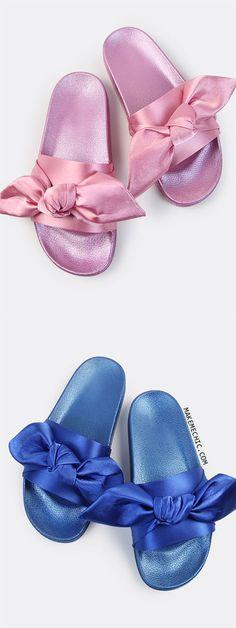 Open Toe Satin Slide Sandals
