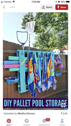 Simple DIY Pallet Pool Storage Hang towels and organize all your pool toys and accessories with this easy DIY pool pallet storage center. The post Simple DIY Pallet Pool Storage appeared first on DIY Crafts.