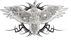 Raven tattoo idea, nix the tribal junk and replace it with celtic knots throughout.
