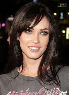 Megan Fox Long Hairstyles Layered with Bangs ~ look at that color!