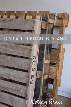 pallets used for DIY kitchen island