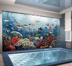 Aquatic Ocean Scene Glass - Mosaic Pool Tiles - Aquatic Mosaic Pool Art - Mosaic Deisgns - Installed Mosaic | Mozaico