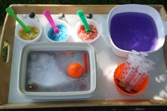 Freeze various things in a block of ice and then use salt and water to uncover them.