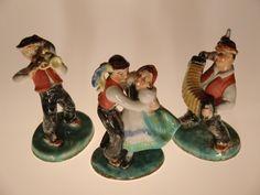 Bohemian Czech Ditmar Urbach Pottery Figurines (Danceres, Trumpeter, Harmonist)