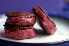 raw vegan chocolate blackberry ice cream sandwich
