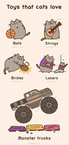 Pusheen The Cat - Animated Gif - Toys the Cats Love