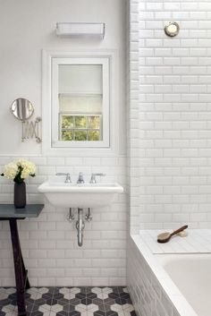 beveled edge. white tile half walls and shower. Subway Tile Bathroom Walls