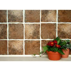 """Self Adhesive Wall Tiles for Kitchens and Bathrooms - OLD TERRACOTTA - 6"""" x 6"""" Tiles (15cm x 15cm)"""