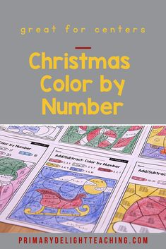 Add the Christmas spirit to math review with these fun math worksheets. Christmas color by number pages are a fun way for kids in first grade to practice addition, subtraction, place value and time to the hour. Use these printable pages for morning work for students or for early finishers in the classroom or homeschool setting. #ChristmasFirstGrade #FirstGradeMath