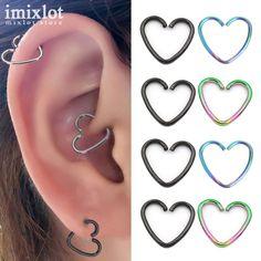 1 Stück Gold Silber Chirurgische Edelstahl Herz Barbells Nase Ring Unisex Ohrknorpel Ohrringe Piercing