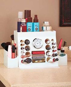 Declutter your bathroom counter with the stylish Lip-n-Eyes 3-In-1 Cosmetic Organizer. This versatile unit holds all your daily makeup essentials. Use the