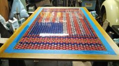 My completed 1700 bottle cap table American Flag design! - HOME SWEET HOME - Knitting, sewing, crochet, tutorials, children crafts, papercraft, jewlery, needlework, swaps, cooking and so much more on Craftster.org