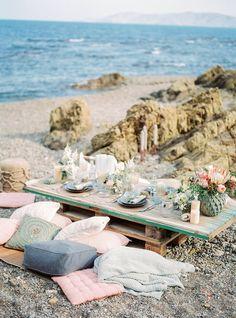 beach wedding - photo by Charlotte van den Berg http://ruffledblog.com/spanish-bohemian-beach-inspiration