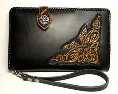 Hand-tooled leather travel wallet with koi and by PFLeatherGlass