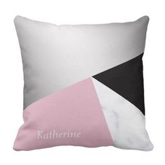 Elegant geometric silver white marble pink black throw pillow - luxury gifts unique special diy cyo