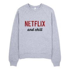 Netflix and Chill Raglan sweater ($40) ❤ liked on Polyvore featuring tops, sweaters, crew fleece sweaters, raglan sleeve top, crewneck sweater, fleece tops and raglan sleeve sweater