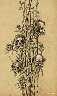 pollution - skull roses by Noia illustration, via Behance