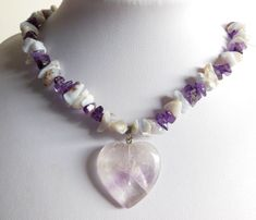 Handmade purple & periwinkle necklace with heart pendant. #zibbet #amethyst #agate