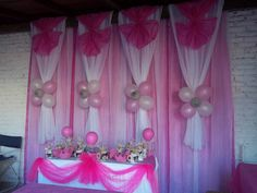 Decoracion En Telas Y Globos, quinceanera backdrop, would be very pretty for a Barbie theme or princess theme