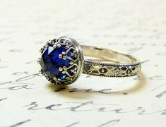 Beautiful Gothic Vintage Sterling Silver Floral Band Ring with Rose cut Blue Sapphire and Heart Bezel - cheap fashion jewelry, wedding ring jewelry stores, indian jewelry *sponsored https://www.pinterest.com/jewelry_yes/ https://www.pinterest.com/explore/jewellery/ https://www.pinterest.com/jewelry_yes/cheap-jewelry/ http://www.kohls.com/sale-event/jewelry.jsp