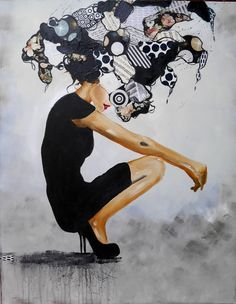 Large acrylic painting,women,black and white,schwarz,weiss,Frau,high heels,notes,papers,black dress,modern, collage by Beate Frieling by ColorbyBeate on Etsy