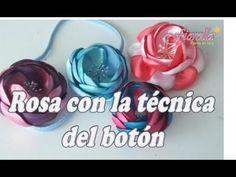 Rosa en tela con la técnica del botón Tutorial 18 - YouTube