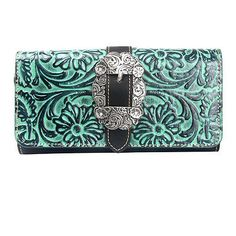 Montana West Clutch Style Try Fold Wristlet Wallet Black Tooled Trinity Ranch Le