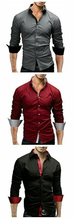 Men's Casual/Work/Formal/Plus Sizes Striped/Pure Long Sleeve Regular Shirt… Formal Shirts For Men, Men Formal, Casual Shirts, Work Casual, Casual Wear, Men Casual, Mode Masculine, Sharp Dressed Man, Well Dressed Men
