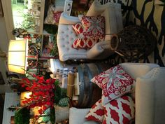 Red pillows  Wingback chairs
