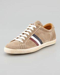 N24M8 Moncler Monaco Suede Low-Top Sneaker, Tan