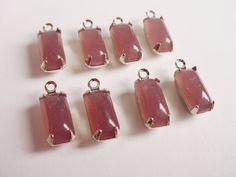 Vintage Light Amethyst Octagon Glass Stones 10x5 by brassgoldbeads