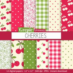 Cherry digital paper: CHERRIES digital paper pack with by Grepic