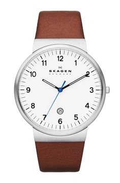 Skagen Denmark Ancher - Men Wrist Watch on YOOX. The best online selection of Wrist Watches Skagen Denmark. YOOX exclusive items of Italian and international designers - Secure payments Mens Watches Leather, Leather Men, Watches For Men, Soft Leather, Casual Watches, Wrist Watches, Bracelets Bleus, Skagen Watches, Men's Watches