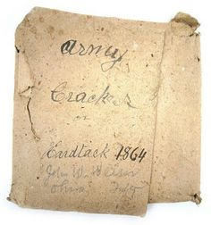 Civil War rations wrapped up as a souvenir by an Ohio soldier. From Minnesota Historical Society.