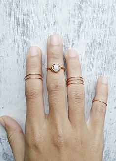 Above Knuckle Rings or Toe rings // Set of 4 // Copper / White Beads on Etsy, $14.50