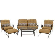 Oceana 6pc Seating Set: Sofa, 2 Side Chairs, Coffee Table, 2 Ottomans - OCEANA6PC-TAN - Canvas Cork